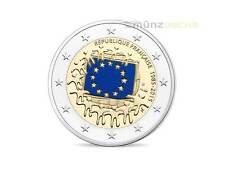 2 Euro Frankreich 30 Jahre EU Flagge Fahne 2015 PP Proof im Etui farbig Farbe