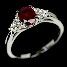NATURAL 6 X 8mm. RED RUBY & WHITE CZ STERLING 925 SILVER RING SZ 10