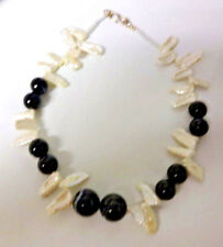 Vintage Sardonyx Banded AGATE BIWA Pearl Sterling Silver Clasp Necklace
