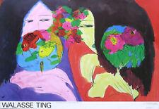 Walasse Ting Poco Whisper Pescado & Flores Póster 25-1 / 2x 37-1/2