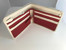 Mens Wallet Genuine Leather Bi Fold Handmade Card Holder Wallet Ivory/Red Purse