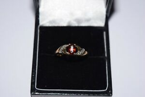 9ct Yellow Gold Oval Red Stone With Diamonds On Sides