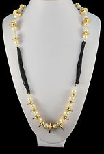 GOLD TONE CREAM FAUX PEARL CLUSTER WITH GOLD TONE DISC WITH BLACK CHAIN NECKLACE