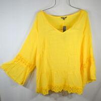 New Women's Sunshine Yellow Crochet Lace Boho Tunic Peasant Top Blouse 3X NWT