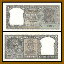 India 2 Rupees, 1962-1967 P-31 Sig #75 Tiger Face Unc with Pinholes