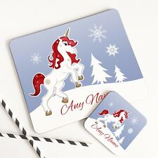 Personalised Wooden Glossy Christmas Unicorn Placemat & Coaster Set for Children
