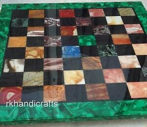 30 Inch Green Marble Table Top Hand Crafted Stone Coffee Table with Multi Stones