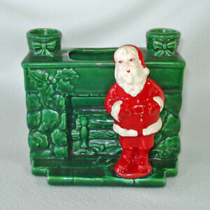 Treasure Craft 1950s Santa Fireplace Christmas Planter Candle Holder
