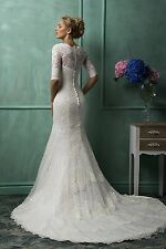 WOMENS MERMAID LACE HALF SLEEVE WEDDING DRESS. BRIDAL GOWN. SIZES 2-26W.HANDMADE