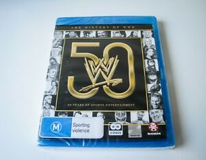 THE HISTORY OF WWE: 50 YEARS OF SPORTS ENTERTAINMENT - BLU-RAY | LIKE NEW SEALED