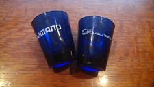 Shimano Bicycle Shot Glass Two Glasses Cobalt Blue Campagnolo  Fireball Whiskey