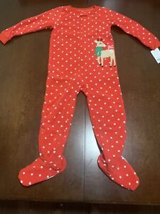Carters Christmas 1 Piece Fleece Pajamas Girl Size 5T NEW
