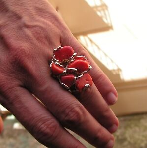 Vintage Silver Ring 19 Ct Natural Cabochon Red Coral 35×27 mm