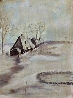 Anonymous Winter Landscape With Houses Oil Painting On Plywood