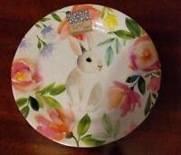 Floral Easter Bunny Rabbit Dinner Plates - Set of 4 - Melamine - Nicole Miller