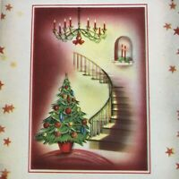 Vintage Mid Century Christmas Greeting Card Spiral Staircase Candelabra Tree