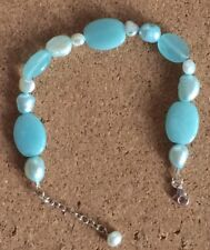 Sterling Silver Bracelet set with Amazonite and Freshwater Pearls