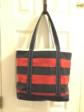 VTG white Blue / Red LL BEAN Canvas Boat and Tote Made in USA zip top med.size