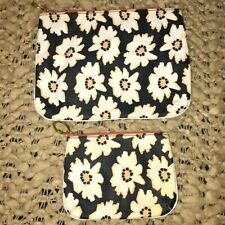 Fossil Travel Cosmetic Case Daisy Blue White Coated Zippered Set of 2