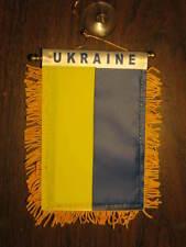 "UKRAINE FLAG MINI BANNER 4""x6"" CAR WINDOW MIRROR"