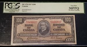 CANADA 1937 $100 Bill GORDON TOWERS Signatures Graded PCGS VF30 PPQ P-64b BC-27b