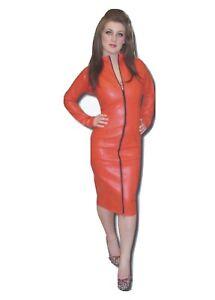 Misfitz red leather look mistress dress 2 way zip size 18. TV Goth Cross Dress