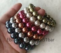 Großhandel 6 PCS 12mm Multi-Color Sea Shell Perle elastisches Armband 8 Zoll