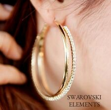 boucles créoles anneaux 2 tons doré /cristaux argenté swarovski® Elements luxe
