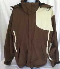 Snowboard Jacket Mens XL Foursquare GS System Brown Cream Vented Pass Holder