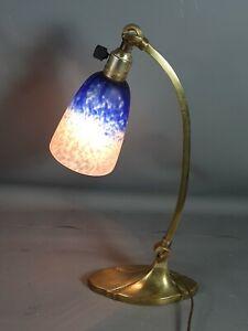 Lampe de table Art déco tulipe verre signé Schneider & bronze H: 40 cm SB