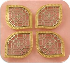 2 Hole Beads Moroccan Trellis Pattern in Filigree Silver & Gold ~ Sliders Qty 4