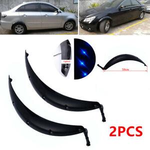 2X Black 58CM Truck Car Fender Wheel Eyebrow Protector Sticker w/ Blue LED Light