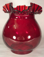 """New 4"""" Fitter Ruby Swirl Optic Glass Gas Lamp Shade With Crimped Top #GS126R"""