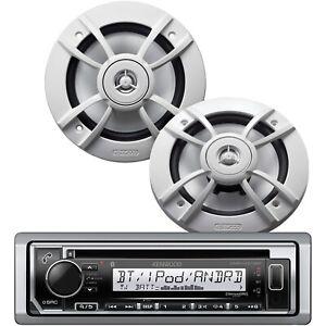 "Kenwood PKG-MR372BT Marine Boat CD Player Bluetooth Pandora + 2x 6.5"" Speakers"