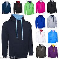 Mens Hoodie Contrast Hooded Sweatshirt Plain Size XS to 4XL Premium