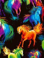 Digital Printed Fabric - Painted Rainbow Horse Black - Timeless Treasures YARD