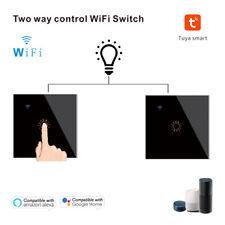 2Pcs 2 Way WiFi Touch Light Switch Tuya App Smart Stair Switch Eu Plug for Alexa
