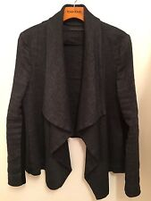 Zara Dark Gray Jacket Waterfall Drape Front Sz S Made in Spain