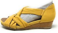 Earth Origins Womens Ficus Gemini Wide Wedge Sandals Yellow Leather Size 6 Wide