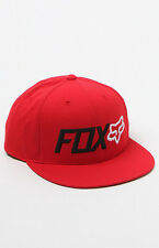 """NWT MEN'S FOX """"TRENCHES"""" SNAPBACK ADJUSTABLE HAT/CAP RED SIZE:ONE SIZE"""