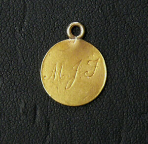 1849 $1 GOLD LOVE TOKEN PENDENT - MJF ENGRAVED - SEE PICTURES