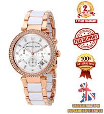 BRAND NEW* MICHAEL KORS MK5774 WHITE ROSE GOLD PARKER CHRONOGRAPH WOMEN'S WATCH