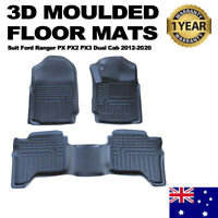 3D TPE All Weather Floor Mats Liner fit Ford Ranger PX 123 MK Dual Cab Wildtrak