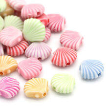 """200PCs Acrylic Charm Spacer Beads Shell Shaped Mixed 12mmx10mm(4/8""""x3/8"""")"""