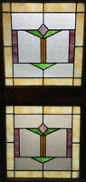"""Pair of Art Deco Stained Leaded Glass Windows from Chicago 25"""" by 23 1/2"""