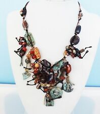 DESIGNER BROWN BLUE FETISH MIXED MEDIA HAND MADE NECKLACE EARRINGS JEWELRY SET
