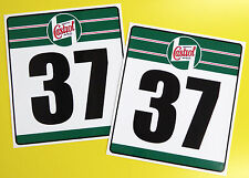 VINTAGE style Classic Car 'CASTROL' RACE NUMBERS ideal for MINI COOPER