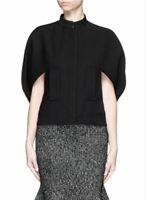 ALEXANDER McQUEEN Women's Cape Black Wool Blend Scuba Jacket 40 US 4 NEW