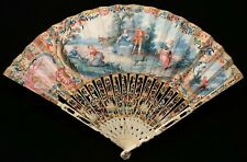 Antique 18th C. French ROCOCO Paper HAND FAN Eventail CARVED STICKS circa 1760
