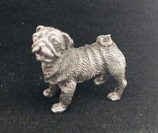 Pewter Cute Pug Dog Puppy Silver Metal Statue Figurine T